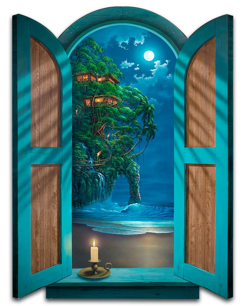 Seascape-Painting-with-Tree-House