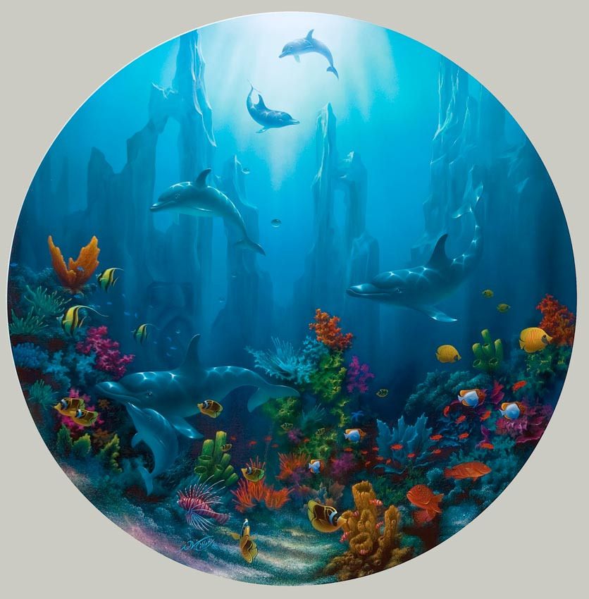 Dolphin And Tropical Reef Paintings By Artist David Miller