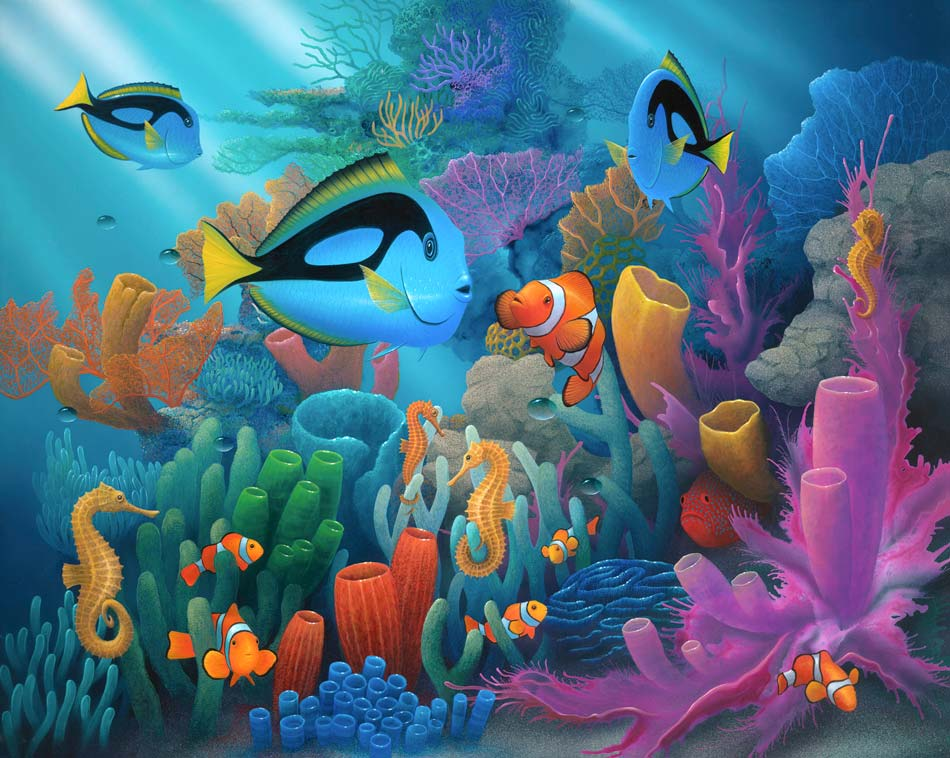 Friends Of The Sea Dory And Clown Fish By Artist David Miller