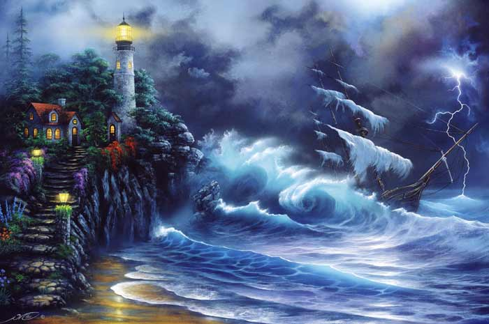 Revenge of the Sea ship wreck and lighthouse painting by
