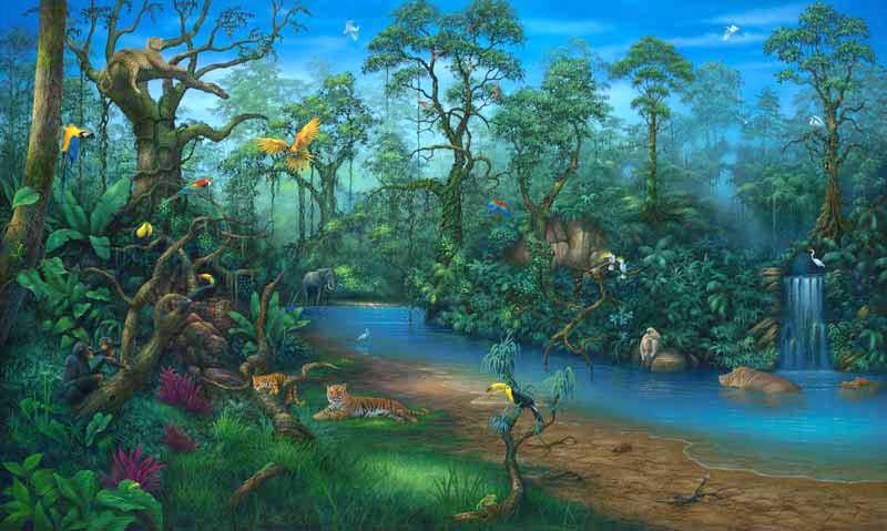 rainforest painting by artist david miller jungle book clip art monkey jungle book clip art people
