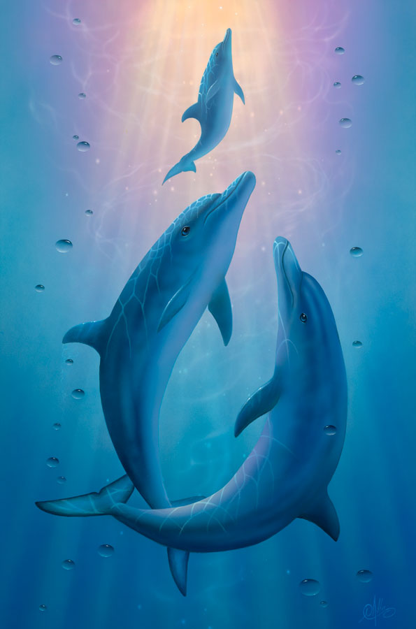 dolphin dreams a painting by david miller - Pics Of Dolphins