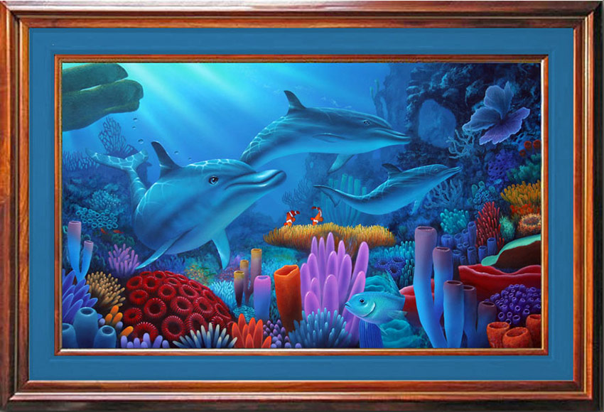 Dolphin Painting_Secrets of the Sea Framed