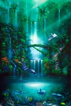 enchanted pool a dolphin painting by artist david miller