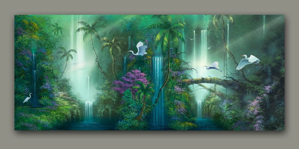 Fantasy Falls A Rainforest Waterfall Painting By Artist