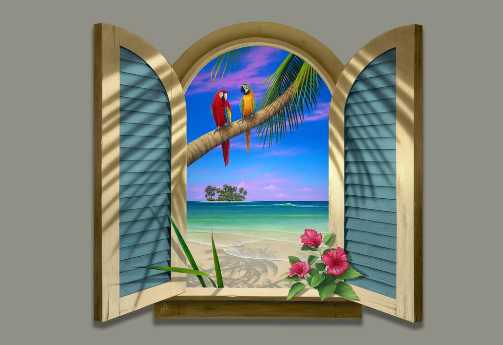 Two Parrots At The Beach Painting