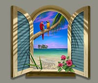 Two Parrots Beach Painting