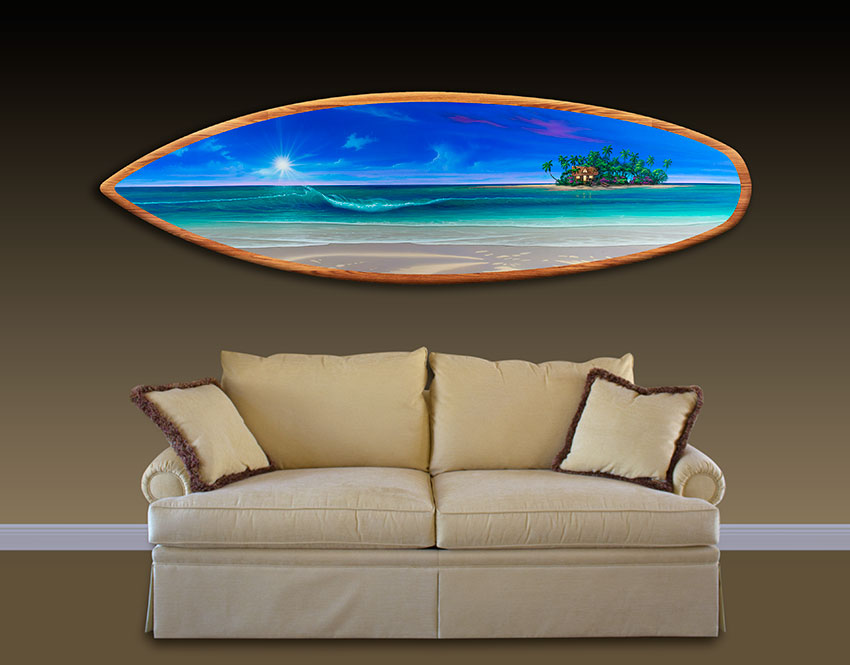 Surf Board Painting above couch