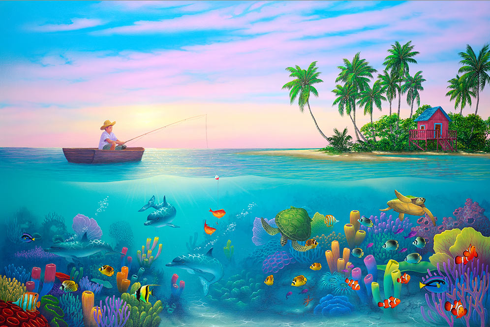 boy fishing painting