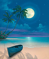 seascape painting moon shadows